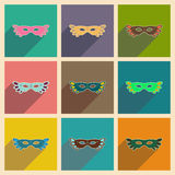 Concept of flat icons with long shadow Carnival mask Royalty Free Stock Images