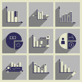 Concept of flat icons with long shadow  charts economics. Concept of flat icons with  long shadow  charts economics Royalty Free Stock Image