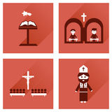 Concept flat icons with long shadow Christianity Stock Photos