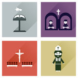 Concept flat icons with long shadow Christianity Royalty Free Stock Photo