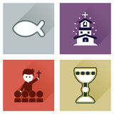 Concept flat icons with long shadow Christianity Stock Photo