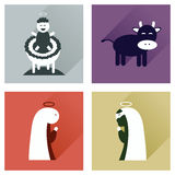 Concept of flat icons with long shadow Christmas Royalty Free Stock Photos