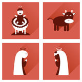Concept of flat icons with long shadow Christmas Stock Image
