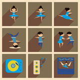 Concept of flat icons with long shadow dancing Stock Photography