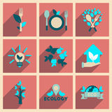 Concept of flat icons with long shadow  ecology Stock Photos