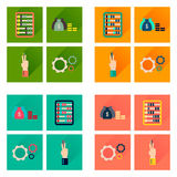 Concept of flat icons with long shadow economy Stock Image