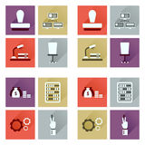 Concept of flat icons with long shadow economy Royalty Free Stock Photo