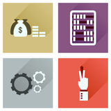 Concept of flat icons with long shadow economy Royalty Free Stock Images