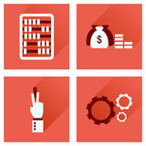 Concept of flat icons with long shadow economy Royalty Free Stock Photography