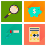 Concept of flat icons with long shadow economy Stock Images
