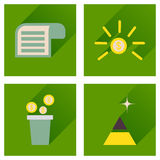Concept of flat icons with long shadow economy Royalty Free Stock Photos