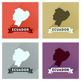 Concept of flat icons with long shadow Ecuador map Stock Photography