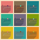 Concept of flat icons with long shadow financial infographics Royalty Free Stock Images