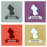Concept flat icons with long shadow Guyana map Stock Images
