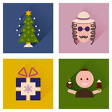 Concept of flat icons with long shadow Hanukkah Stock Images