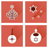 Concept of flat icons with long shadow Hanukkah Royalty Free Stock Photos