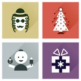 Concept of flat icons with long shadow Hanukkah Royalty Free Stock Images