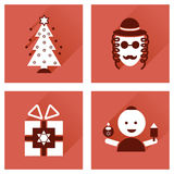 Concept of flat icons with long shadow Hanukkah Stock Image