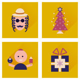 Concept of flat icons with long shadow Hanukkah Royalty Free Stock Photography