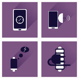 Concept of flat icons with long shadow mobile applications Stock Photo