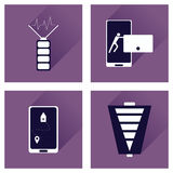 Concept of flat icons with long shadow mobile applications Royalty Free Stock Images