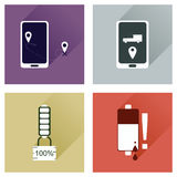 Concept of flat icons with long shadow mobile applications Stock Photos