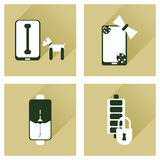 Concept of flat icons with long shadow mobile applications Stock Images