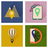 Concept of flat icons with long shadow mobile navigation Royalty Free Stock Image
