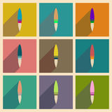 Concept of flat icons with long shadow rocket. Concept of flat icons with long  shadow rocket Royalty Free Stock Photography