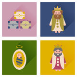 Concept of flat icons with long shadow Traditional Christmas scene Stock Photography