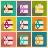 Concept of flat icons with long shadow Women's Day gift Royalty Free Stock Images