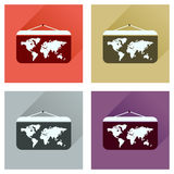 Concept of flat icons with long shadow World map Royalty Free Stock Photo