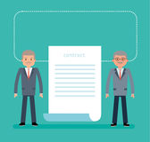 Concept flat vector business illustration. Agreement. The contract. Businessmen have signed a contract for the supply of equipment royalty free illustration