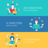 Concept flat web banners template set vector infographics. Top manager professions concept flat web banners template set art direction it director chief Stock Images