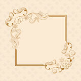 Concept of floral design decorated frame. Stock Photos
