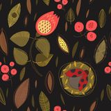 Concept floral seamless pattern with summer flowers,leafs and la Stock Photography