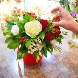 Concept of flower salon. Photo for flower website stock image