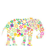 Concept of flowers in the shape of a elephant Stock Image