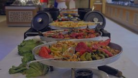 Concept of food, holiday. Buffet with stewed vegetables in the hotel restaurant. 4k stock video footage