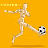 Concept of Football with wooden human mannequin Stock Photos