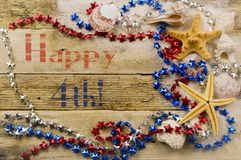Free Concept For Summer United States Holiday Of Fourth Of July On The Beach With Shells, Starfish And Sand With Message Royalty Free Stock Photo - 136652525