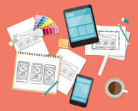 Concept For Wab And App Sketch Design Work Space Royalty Free Stock Images