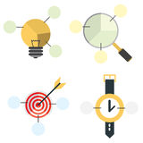 Concept. Four diagrams about flat design and business Royalty Free Stock Images