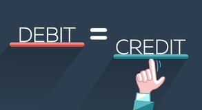 Concept of fraud debit. Concept of fraud, deception in the form of a hand that aligns the debit with the loan, credit. Icon, silhouette in the flat style royalty free illustration