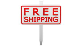 Concept: Free shipping sign turn around. 3D rendering. stock video