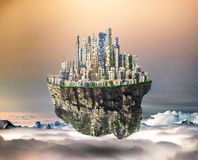 Concept of freedom. Island in sky with city on dead sky background. Safety island concept. Religion Royalty Free Stock Photography