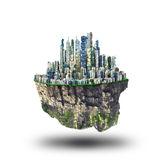 Concept of freedom. Island in sky with city on white background. Safety island concept. Religion Stock Photo