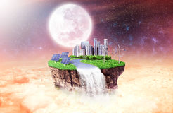 Concept of freedom. Island in sky with future city, Stock Photos