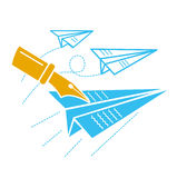 Concept of freedom of speech. The concept of freedom of speech, freedom of the press, in the form of flying paper airplanes and a pen that writes on them. Icon Stock Image