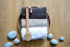 Concept of fresh exfoliation, clean wellness and male Turkish bath royalty free stock image